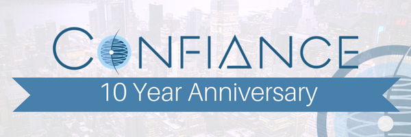 10 year anniversary banner with confiance logo